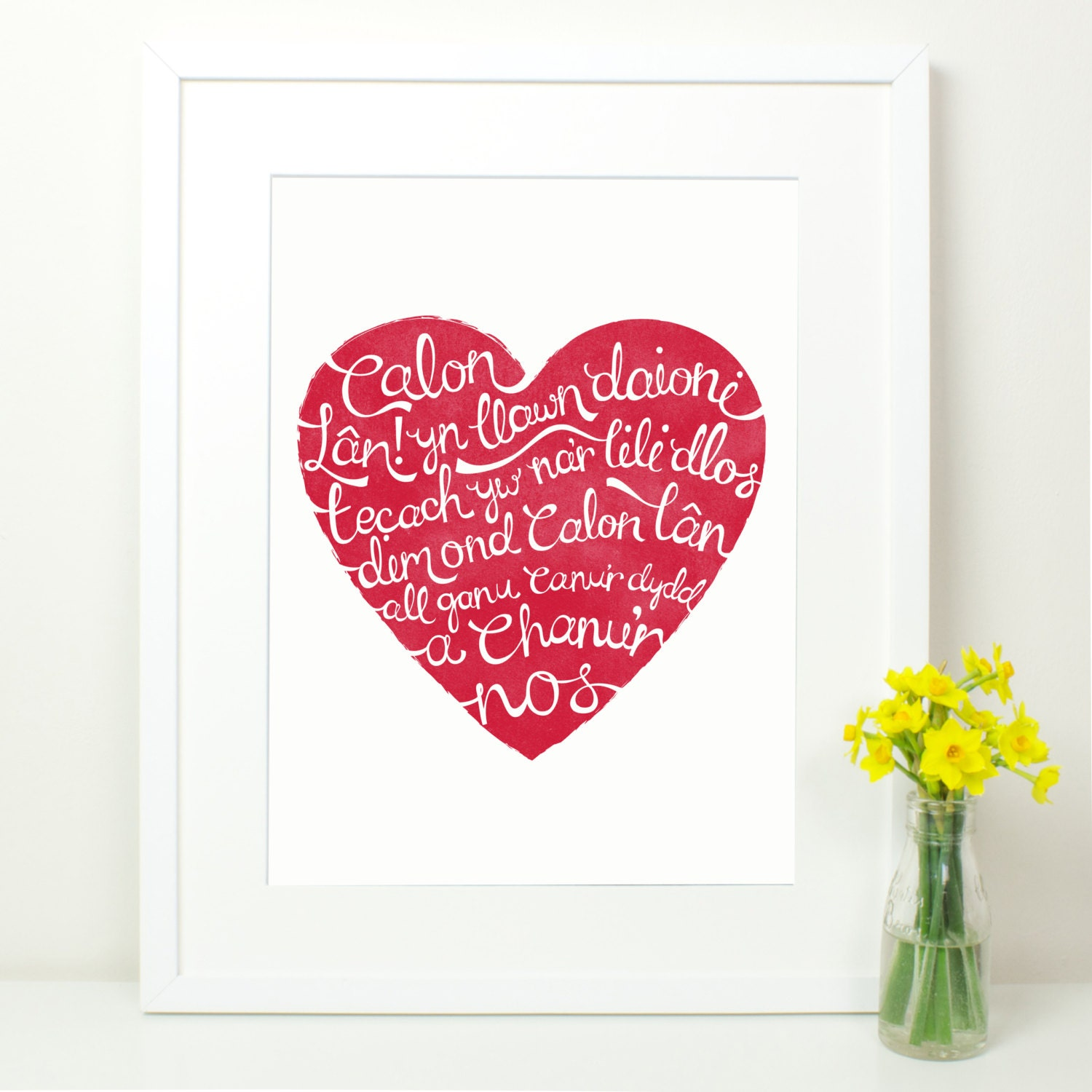 Calon Lan Red Heart Print. Welsh Rugby Song Lyrics. Pure