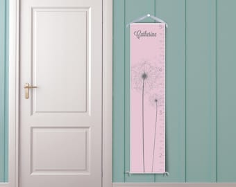 Dandelion in Pink and Grey-Personalized Children's Growth Chart