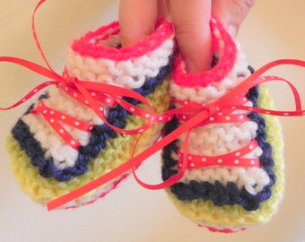 Multicolored Sneakers Baby Booties Knitting Pattern PDF