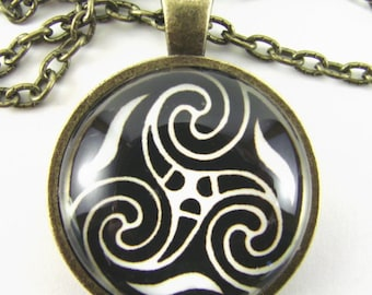 CELTIC Triple Spiral TRISKELION KNOT Necklace -- Celtic knot,  Spiritual symbol,  Mystical power of trinity in nature,  Metaphysical art
