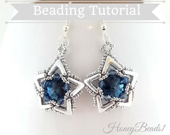 PDF-file Beading Pattern AVA maria Star Earrings Beading Tutorial by HoneyBeads1