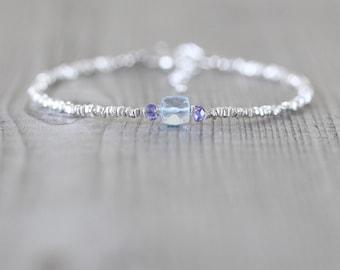 Sky Blue Topaz, Tanzanite & Sterling Silver Bracelet. Dainty Karen Hill Tribe Fine Silver Bracelet. Beaded Gemstone Cube Bracelet. Jewellery