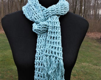crochet blue open weave scarf, spring summer accessory, young girl scarves, beach / resort accessories, gifts for her