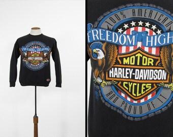 Vintage Harley Black Sweatshirt 90s Motorcycle Freedom Highway Made in USA - Medium