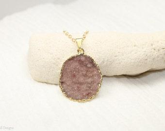 Druzy Necklace, Druzy Jewelry, Drusy Pendant, Gemstone Necklace, Druzie, Geode, Drusy