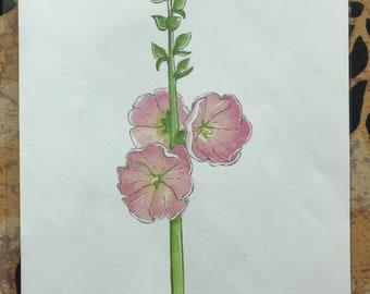 Hollyhock Watercolor Print