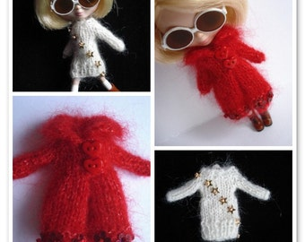 pdf knitting pattern - Petite Blythe sweater dress and coat.