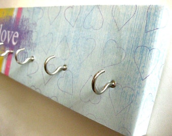 """Jewelry Holder Key Rack Love Key Rack Valentines Day Blue, Pink, Yellow, Purple, Love, Kiss, Hearts, Inspirational Words Gift for Her """"Love"""""""