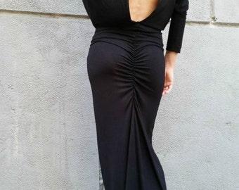 Black Maxi Dress / Loose Open Back Dress / Long Sleeve Extravagant Dress / EXPRESS SHIPPING