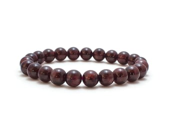Dark Red Garnet Bracelet/ Garnet Bead Bracelet/ Red Gemstone Bracelet/ Red Stretch Bracelet/ Red Garnet Jewelry