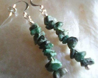 Blue African Turquoise Gem-Chip Earrings, Sterling Silver Fish Hook Ear Wires.