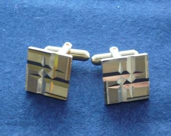 1960's Diamond Cut Square Cufflinks