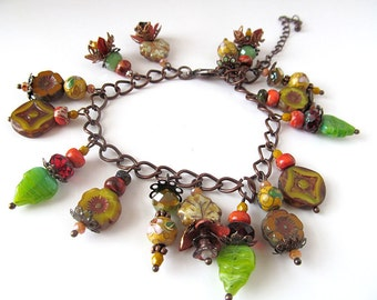 Autumn Glass Bead and Charm Bracelet, Antiqued Copper Charm Bracelet, Rustic Jewelry, Fall Colors, Dementia Awareness, moonlilydesigns