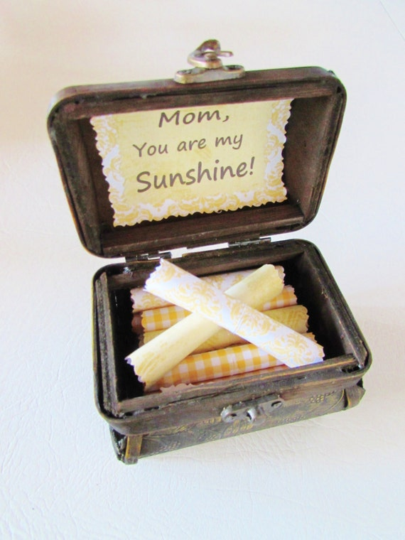 Mom Gift, Mother's Day Gift, Mother Scroll Box, Jewelry Chest filled with Sunny Quotes, Personalized, Birthday, Christmas, Mother's Day