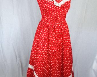 70s Prairie style folk red polka dot lace yoke sleeveless full skirt maxi dress size S/M