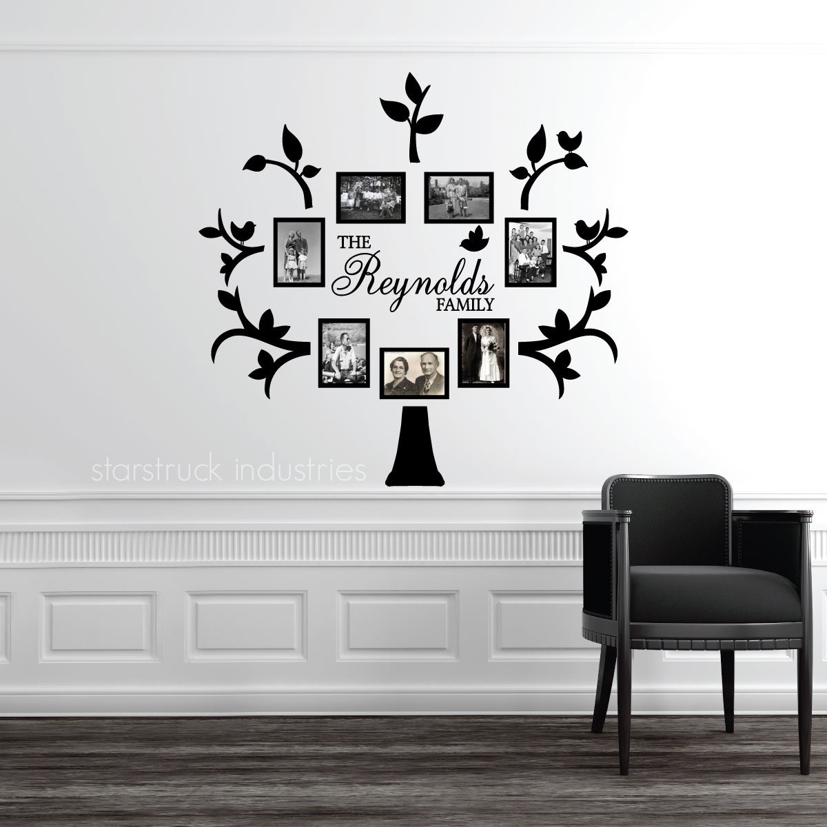 Personalized Last Name Family Tree Wall Decal - Photo Collage Idea - Family Photo Tree Custom Last Name Tree Wall Picture Mural Family Tree  sc 1 st  Etsy Studio & Personalized Last Name Family Tree Wall Decal - Photo Collage Idea ...