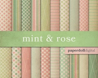 Mint & Rose Cottage Chic Digital Paper - Pink and Green - Polka Dot Scrapbooking Paper - Diamond Pattern - Instant Download - 20 Sheets