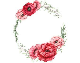 Watercolour Flower Wreath Clip Art Digital Download PNG High Resolution Q466