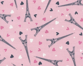 Timeless Treasures Tossed Eiffel Towers & Hearts - Paris fabric Fun C3771  - Pink Hearts