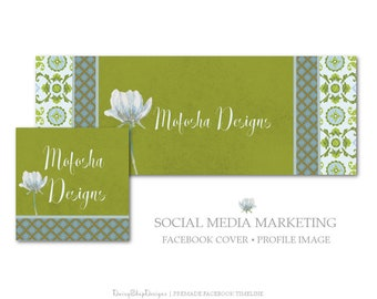 Facebook Cover,Profile Image,Social Media Marketing-Moroccan,Floral,Damask-Olive Green,Blue-Facebook Storefront