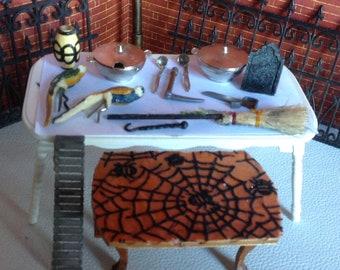 Halloween Spider web table broom Cauldron  acces Witchy   Altar