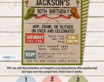 Reptile Invitation - Lizard Invitation - Reptile Party Invitation - Reptile Birthday - Reptile Party Invitation - INSTANT ACCESS