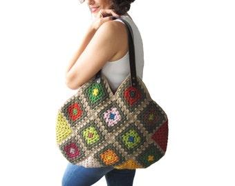 Chunky Granny Sguare Afghan Colorful Croched Handbag With Leader Handles - Orange Brown Ecru by AFRA