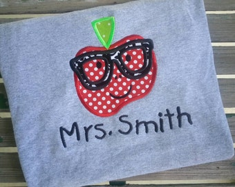Personalized Apple with Glasses Teacher Shirt school Shirt