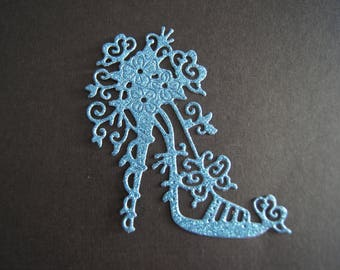 1 cut blue heel with glitter