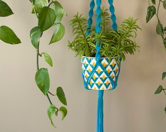 Plant pot holder Hanging planter, Bright blue Macrame planter  with spiral knots For small or medium pot, Plant moms, gift for mom