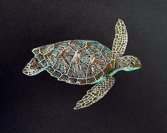 Fine Art Print of Pointillism Illustration: Honu by Christie A. Thompson