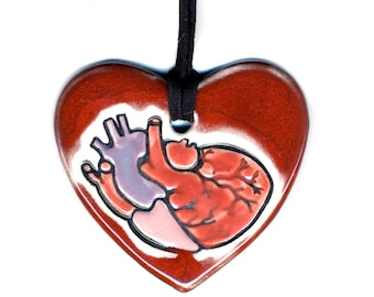 Anatomically Correct Heart Ceramic Necklace