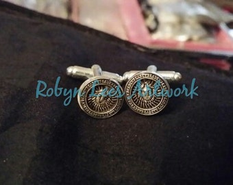 Silver Sun God Goddess Deity Unusual Cuff Links