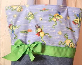 Blue & green gentlemen Serenading Frogs BAG Purse Tote BAG or Diaperbag