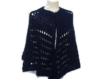 Crochet Poncho Crochet Cape Poncho  Shawl Hand Crocheted Cape Poncho Shawl Handmade Ready to Ship   Gift for Her Gift for Mom