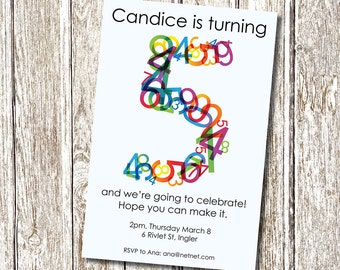 Crazy Numbers Birthday Invitation - Printable and Personalised