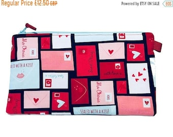 SALE 20% OFF Love Letters Multi Purpose Pouch, Makeup Bag, Gadget Bag, Pencil Case, Small Craft Project, Valentines Gift, Handmade in the UK