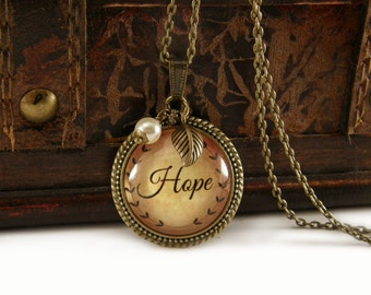 Hope Necklace, Vintage Necklace, Bronze, Steampunk Necklace, Inspirational, Necklace with Beads, Charms, Pearl Drop, Words, Long Necklace