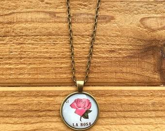 El La Rosa the rose loteria pendant circle necklace glass antique bronze