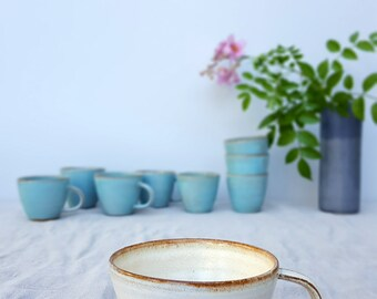 Cappuccino Mug, White Mug, Ceramic Mug, Handmade Coffee Mug, Coffee Lovers Gift, Cappuccino Cup, Italy Cappuccino Cup, Rustic Coffee Mug
