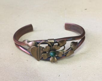 Vintage Copper Flower Cuff Bracelet with Green Stone