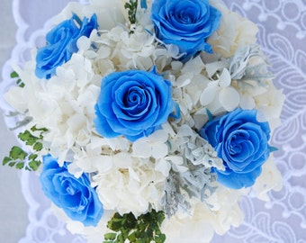 Blue Preserved Roses Centerpiece, Keepsake Centerpiece, Preserved White Hydrangeas Centerpiece