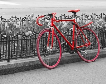 It's a Beautiful Day - Chicago - Fine art travel photography - Urban art, bike art, 8x10 or 8x8 - black and white, red bike