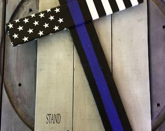 Reclaimed Thin Blue Line Cross