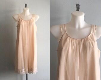 Vintage Blush Chiffon Nightgown, French Maid,  1960s Nightgown, Chiffon Nightgown, Romantic, Wedding, Bridal