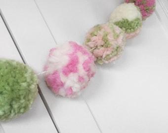 Pink, Green and Ivory Pom Pom Garland