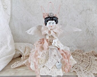 Shabby Cottage Chic Vintage China Doll Angel Doll Bottle Mixed Media Assemblage Art