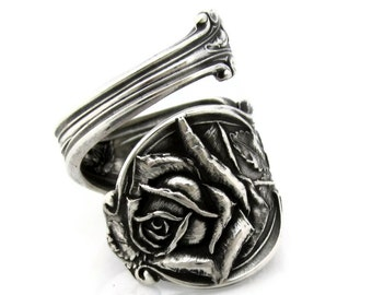 Solitary Rose Art Nouveau Spoon Ring Sterling Silver
