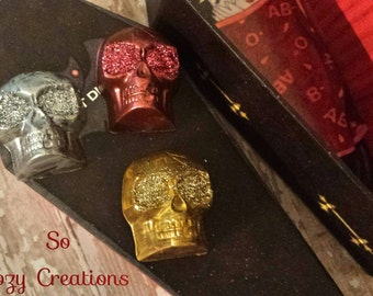 Chocolate Caramel **SALE** Caramel filled Skulls Halloween Treat!  Artisan Chocolate,Glittering Caramel Chocolate Skull! In Coffin Candy Box