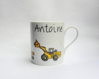 Mug, Cup with construction vehicles: truck personalized with name Digger backhoe tractor